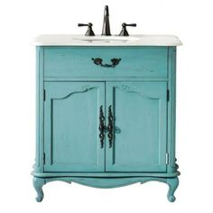 Home Decorators Collection Provence 33 in. W x 22 in. D Single Sink Vanity in Blue with Marble Vanity Top in White-1112800310 - The Home Depot