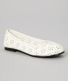 Look at this #zulilyfind! White Cutout Ballet Flat by Rose Girl #zulilyfinds