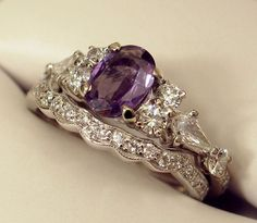 wedding ring with purple crystal