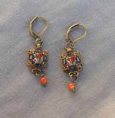 Vintage Drop Dangle Floral Etruscan Victorian Style Micro Mosaic Earrings