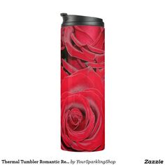 Thermal Tumbler Romantic Red Roses Floral Bouquet