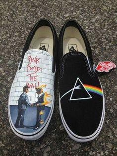 4971d114f7919f Pink Floyd Themed Custom Hand Painted Slip On Van s by ArtistsLair.