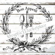 Bon Appetit Wreath Menu Dinner Instant by GraphicMarketplace