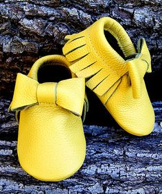 Yellow Bow Leather Moccasins by Expressive Boutique #zulily #zulilyfinds
