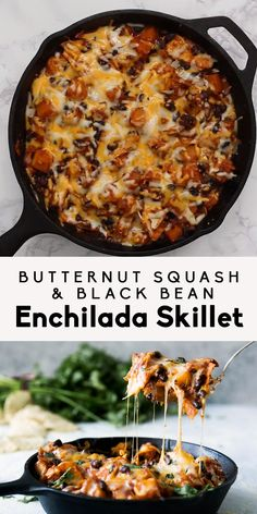 A healthy vegetarian Mexican-inspired dinner -- butternut squash and black bean . A healthy vegetarian Mexican-inspired dinner — butternut squash and black bean enchilada skillet. Healthy Weeknight Meals, Easy Meals, Dinner Healthy, Healthy Vegetarian Dinner Recipes, Vegetarian Barbecue, Paleo Meals, Vegetarian Mexican Food, Easy Healthy Vegetarian Recipes, Healthy Winter Recipes