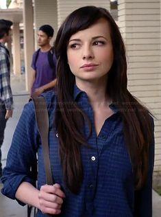 Jenna's blue striped shirt on Awkward.  Outfit Details: https://wornontv.net/33522/ #Awkward