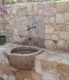 Cool Ancient and Rustic Bathroom Designs - Ancient Surfaces Purveyor of Premium Antique Limestone Elements. Stone Fountains, Garden Fountains, Garden Ponds, Koi Ponds, Outdoor Wall Fountains, Outdoor Water Features, Water Features In The Garden, Mediterranean Outdoor Fountains, Patio Fountain