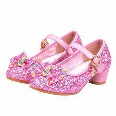 Informations About Bling Pink Glitter Flower Girls Wedding Maryjane Heel Shoes. Flower Girl Shoes, Little Girl Shoes, Toddler Girl Shoes, Kid Shoes, Flower Girl Dresses, Flower Girls, Toddler Girls, Princess Elsa Dress, Princess Shoes