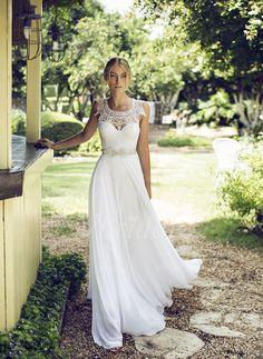 Abiti per matrimonio - $149.97 - A-Line/Principessa Tondo A terra Chiffona Abito per matrimonio con Pizzo Perline (0025057954)