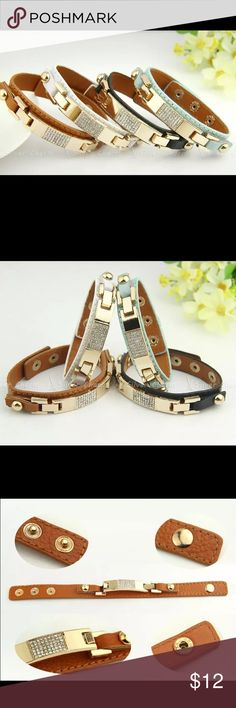 Genuine Leather Crystal Braclet Genuine Leather Alloy Bracelet with crystals Has 3 Claps  Price is form unless bundled Boutique Jewelry Bracelets