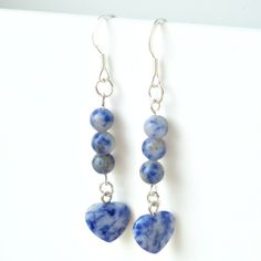"925 Sterling Silver Earrings Blue Sodalite Gemstone Earrings Heart Earrings Ladies 2.5"" Drop/Dangle Earrings Purple Heart Earrings by jollyjulesjewellery on Etsy"
