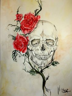 One of my old works, it's an Oldie but goodie. Study of a skull with roses. Watercolor paint. Nina Rose