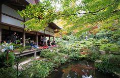 The Shuhekien Garden viewed from the Kyakuden Hall, a major building at the Sanzenin Temple