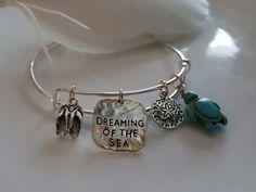 Dreaming of the Sea Charm Silver Bangle Bracelet, Beach, Travel, Inspirational