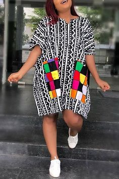 Lovely Casual Geometric Printed Black Knee Length Plus Size Dress Women's Best Online Shopping - Offering Huge Discounts on Dresses, Lingerie , Jumpsuits , Swimwear, Tops and More. Short African Dresses, Latest African Fashion Dresses, African Print Dresses, African Print Fashion, Latest Fashion, Wholesale Clothing, Mode Top, African Traditional Dresses, Edgy Outfits