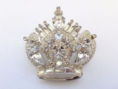 Vintage Signed CoroCraft Sterling Rhinestone Crown Brooch from the 40s AB254 #Corocraft