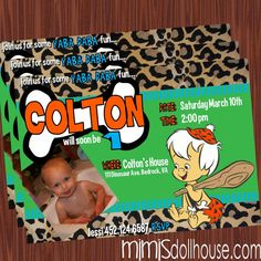 Bam Bam Invitation Bamm Bamm/ Flintstone by MimisDollhouse on Etsy, $11.99