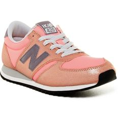 New Balance Heidi Klum 420 Classics Sneaker ($57) ❤ liked on Polyvore featuring shoes, sneakers, coral, round toe sneakers, laced shoes, new balance trainers, laced up shoes and new balance sneakers