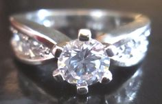 White Sapphire .84 carat 10kt White Gold Filled Ring Size 6 #Unbranded #Cocktail