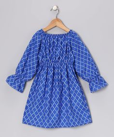 Haley and the Hound Blue Lattice Peasant Dress