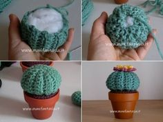 Piante grasse ad uncinetto tonde-cuscino della suocera - manifantasia Crochet Shell Blanket, Crochet Cactus, Spring Projects, Cactus Y Suculentas, Lana, Crochet Projects, Diy And Crafts, How To Make Money, Knitting