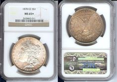 1878-CC $1 SILVER MORGAN DOLLAR COIN NGC MS65+ UNCIRCULATED CERTIFIED