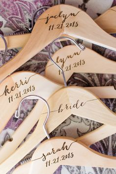 Custom Bridal Party Hangers by Z Create Design www.ZCreateDesign.com or ZCreateDesign on Etsy