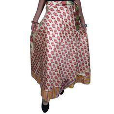 Mogulinterior Reversible Silk Sari Wrapskirt 2 Layer Red Print Vintage Magic Wrap Skirt/Dress