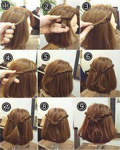 Haarschmuck in 2020 Short Hair Updo, Cute Hairstyles For Short Hair, Braided Hairstyles, Graduation Hairstyles With Cap, Hair Inspo, Hair Inspiration, Medium Hair Styles, Curly Hair Styles, Pinterest Hair