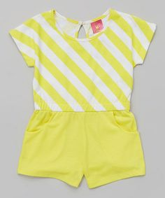 Love this Yellow Stripe Pocketed Romper - Infant, Toddler & Girls by Diva on #zulily! #zulilyfinds