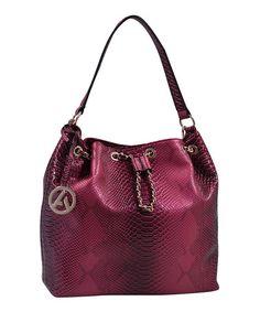 Look at this #zulilyfind! Red Croc-Embossed Bucket Bag #zulilyfinds