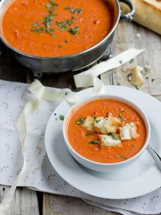 """Roasted Tomato Caprese Basil Soup with Mini Grilled Cheese """"Croutons"""""""