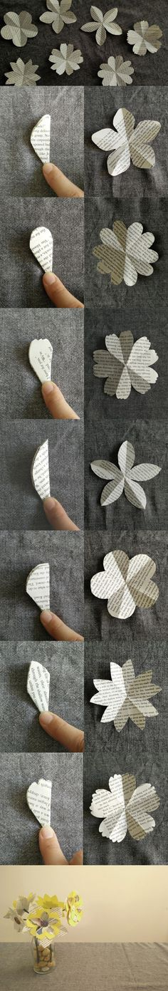 Des fleurs en papier recyclé, avec des boutons et de la ficelle