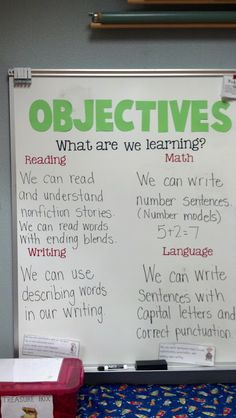 Posting objectives - All children, tweens, teens, young adults and up need to know the objectives of the lesson AND the concept(s)/skills involved BEFORE beginning!