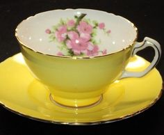 Rosina PINK MAY BLOSSOM Pleasant Yellow simplyTclub Tea cup and saucer
