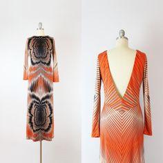 RESERVED / vintage 70s printed maxi dress / graphic print op art maxi dress / slinky open back dress / GOTTEX dress / Speed of Sound dress