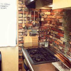 めざせN.Yブルックリン/狭いキッチン/キッチン収納/壁紙屋本舗/いなざうるす屋さん…などのインテリア実例 - 2014-09-20 07:34:48 | RoomClip(ルームクリップ)