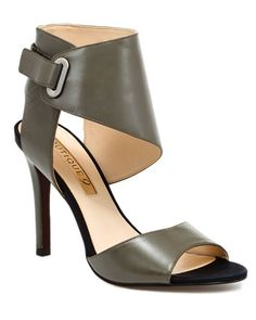 Boutique 9 'Phylicia' Leather Sandal - Grey leather with black satin accents