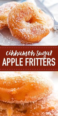 Are you looking for an easy apple fritter recipe? They look like fried apple donuts - the homemade batter turns out so crispy and makes your entire home smell of fall. It's the best German old fashioned treat for a golden autumn. Dip th Healthy Apple Desserts, Apple Dessert Recipes, Donut Recipes, Delicious Desserts, Cooking Recipes, Yummy Food, Green Apple Recipes, Deep Fried Desserts, Apple Recipes Easy