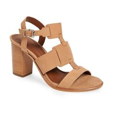 "Arricci 'Harmoni' Stacked Heel Leather Sandal, 3"" heel (94.215 CLP) ❤ liked on Polyvore featuring shoes, sandals, blush, high heel sandals, ankle tie shoes, ankle wrap sandals, high heel shoes and leather ankle strap sandals"