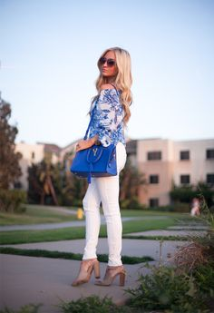 Blue & white print blouse + white jeans + taupe booties