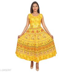 Checkout this latest Kurtis Product Name: *Women Cotton Flared Printed Yellow Kurti* Fabric: Cotton Sleeve Length: Sleeveless Pattern: Printed Combo of: Single Sizes: Free Size Country of Origin: India Easy Returns Available In Case Of Any Issue   Catalog Rating: ★4.2 (2905)  Catalog Name: Women Cotton Flared Printed Yellow Kurti CatalogID_333525 C74-SC1001 Code: 003-2482747-036