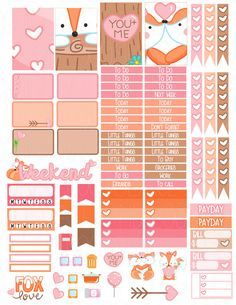 Items similar to Printable Planner Stickers Fox Valentine Love Heart Glam Planning Vertical February Cute Romantic Woodland Animal FoxyFor Erin Condren on Etsy To Do Planner, Happy Planner, Pink Planner, Planner Ideas, Planer Organisation, Planner Decorating, Printable Planner Stickers, Personal Planners, Illustrations