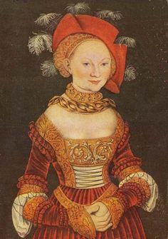 LUCAS CRANACH (1472 - 1553) - Portrait of Aemilia von Sachsen.