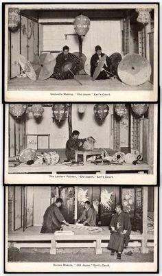 Japan - 3 x Cards - Umbrella & Screen Making, Lantern Painting At Earl's Court