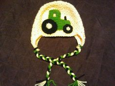 John Deere Earflap Hat Photo Prop by Grubknits on Etsy, $22.00