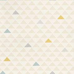 Mason Blue Gold (AMA 01) - John Morris Wallpapers - A block print effect with triangles laid out in a geometric pattern with occasional coloured highlights.  Shown in the grey, blue and gold on stone white. Please request sample for true colour match.