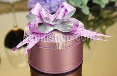 Hochzeit Süßigkeitkasten, mit Satinband, Zylinder, Spritzlackierung, hellviolett, frei von Nickel, Blei & Kadmium, 95x35mm