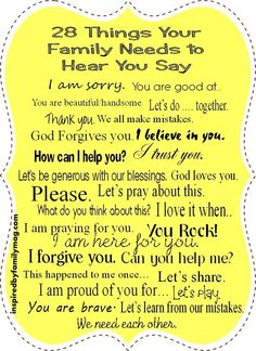 """Your family needs to hear you say """"I Love You"""" too."""