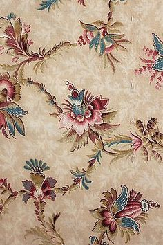 Antique French Belle Epoque floral fabric late 19th century material